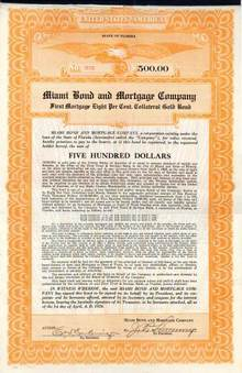 Miami Bond and Mortgage Company 1926 - Gold Bond