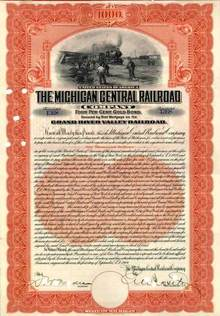 Michigan Central Railroad Company 1909 - Secured by Grand River Valley Railroad