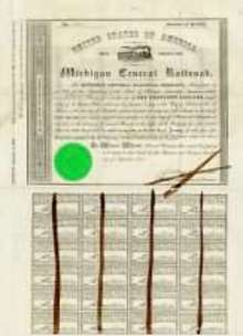 Michigan Central Railroad Bond circa 1854