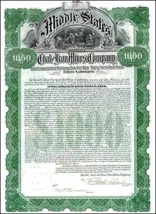 Middle States Coal and Iron Mines Company 1906 - Gold Bond