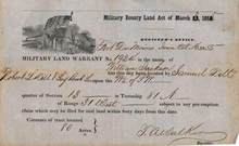 Military Land Warrant 1855 - Fort Des Moines, Iowa