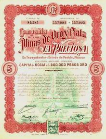 Mines de Oro y Plata La Preciosa - Mexico 1911