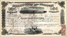 Mississippi and Missouri Railroad Company 1863 - Issued during Civil War