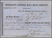 Mississippi Central Rail-Road Company 1863 - Confederate Railroad