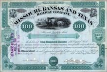 Missouri, Kansas and Texas Railway Company 1881 - Signed by Robber Baron Jay Gould