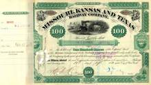 Missouri, Kansas and Texas Railway Company 1880 signed by Jay Gould as President