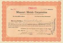 Missouri Metals Corporation 1917-18 - Mine La Motte