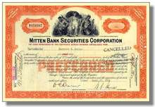Mitten Bank Securities Corporation 1927-1938