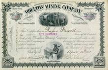 Moulton Mining Company signed by Senator Clark - Territory of Utah 1880's