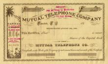 Mutual Telephone Company - Honolulu, Hawaii 1880's