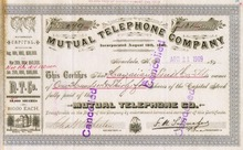 Mutual Telephone Company of Honolulu, Hawaii 1909 - Issued