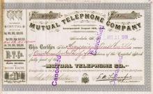 Mutual Telephone Company of Honolulu, Hawaii 1909 - Issued
