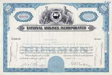 National Airlines Stock Certificate -NICE 1960's