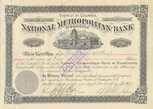 National Metropolitan Bank 1897 - Washington DC