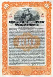 National Properties Company American Railways 1916 - Gold Bond