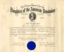 National Society of the Daughters of the American Revolution Membership Certificate