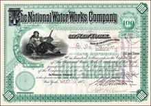 National Water Works Company 1887 - New York