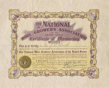 National Wool Growers Association Certificate of Membership 1907