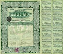 Nazareno Mining Company Bond 1910