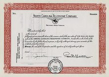 North Carolina Telephone Stock Certificate 1955 (ALLTEL and Sprint)