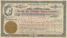 Nevada Boy Goldfield Mining Company - signed by Tasker Oddie (Nevada Governer and Senator)