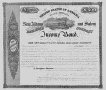 New Albany and Salem Railroad Company - Income Bond 1855