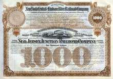 New Jersey Junction Railroad $1,000 Bond signed by J.P. Morgan 1886