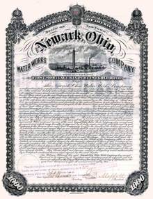 Newark, Ohio Water Works Company 1885 - Gold Bond