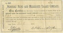 Newport News and Mississippi Valley Company - Huntington Printed Signature