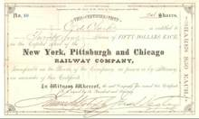 New York, Pittsburgh and Chicago Railway  - Ohio-Pennsylvania 1880's signed by Civil War General James S. Negley