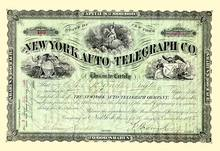 New York Auto-Telegraph Company Stock - 1885 Signed by Cornell