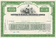 EMI Records Stock Certificate 1969