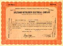 Splitdorf - Bethlehem Electrical Company 1920's - Issued to Edward H. Schwab