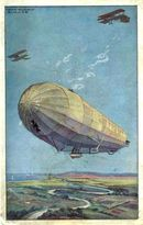 Early Zeppelin Litho Postcard with Bi Planes