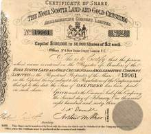 Nova Scotia Land and Gold Crushing and Amalgamating Company 1863