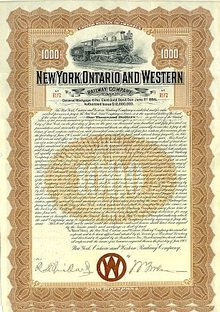 New York, Ontario and Western Railroad Gold Bond 1905