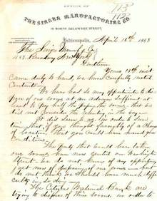 Office of The Singer Manufacturing Company Letter 1868