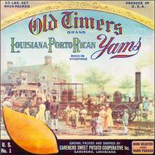 Old Timers Brand Louisiana Porto Rican Yams - Tom Thumb Train Image