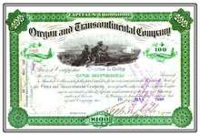 Oregon and Transcontinental Company 1888 - signed by Sidney Dillon