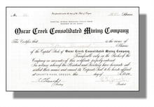 Oscar Creek Consolidated Mining Company 1900 - Grant's Pass, Oregon