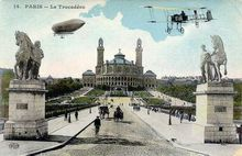 Paris Colored Photo postcard of Bi Plane and Zeppelin
