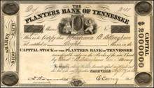 Planters Bank of Tennessee 1860 - Pre Civil War - Nashville