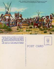 Postcard of the Koshare Indian Dancers of Colorado at La Junta