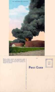 Postcard of an Oil Truck Struck by Lightning