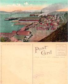 Postcard of the view of Water Front in Everett, Washington 1915