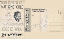 Jules Podell's Copacabana card signed by Nat King Cole