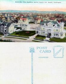 Postcard with a Bird's-Eye View of the Residence Section Capitol Hill Seattle, Washington