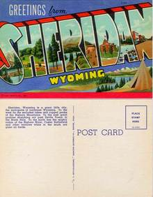 Postcard with Greetings from Sheridan, Wyoming