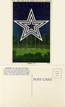 Postcard with a Night Scene of the Electric Star on Mill Mountain, Roanoke, Va