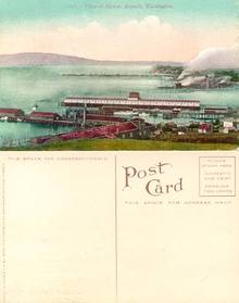 Postcard from the View of Harbor - Everett, Washington 1910